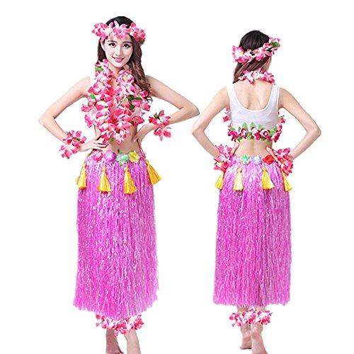 Hawaiano-Hula-Vestido-Falda-Hierba-Guirnaldas-de-flores-Accesorios-de-playa-Dance-Costume-Disfraces-Rosa