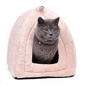OHANA Maison Niche pour Chien Chat avec Coussin Amovible, Dôme Chat Pliable et Confortable