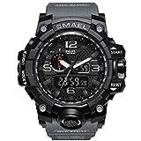 Herren Digital Sportuhr Army Militär Uhr Gummi 50m Wasserdicht Armbanduhr für Herren (Grau)