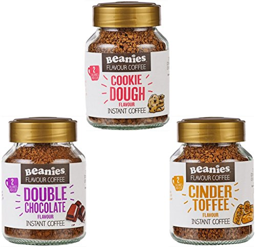 Beanies Flavoured instant coffee jars 3x50g ; Cookie Dough, Cinder Toffee, Double chocolate 51239mL7ctL