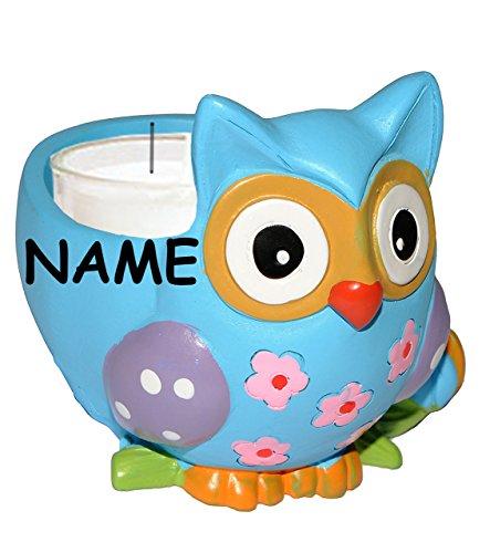 elichthalter  Bunte Eule  incl. Name - Eule in grün / blau / pink / lila - lustig - Kunstharz - Kerzen Halter - Teelichter Deko Wohnzimmer - für E.. ()