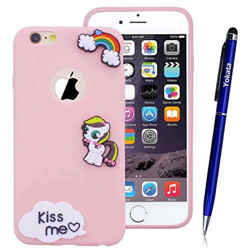 Für iPhone 6 / iPhone 6S Cover, Yokata Transparent Comic Motiv TPU Soft Case mit Weich Silikon Bumper Crystal Clear Klar Schutzhülle Durchsichtig Dünne Case Hülle + 1 X Stylus Pen - Schädel Rosa