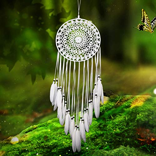 BDQZ Dream Catcher Home Decor Weiße Feder Dreamcatcher Windspiele Indischen Stil Religiöse Maskottchen Auto Wanddekoration,A (Catcher Home Decor Dream)