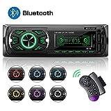 Autoradio Bluetooth, MEKUULA 1din Autoradio MP3 Stereo Auto Radio,Telecomando SWC e 7 Colori Regolabili, USB/TF/EQ/AUX/FM/microfono/lettore MP3 Schermo LCD