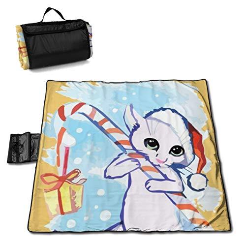 Dataqe Picknick-Decken mit wasserdichter Rückseite, maschinenwaschbar, 144,8 x 149,9 cm, wasserdichte Rückseite, für Picknick, Camping, die Katze wünscht Ihnen glückliche Weihnachtskarte, Aquarell