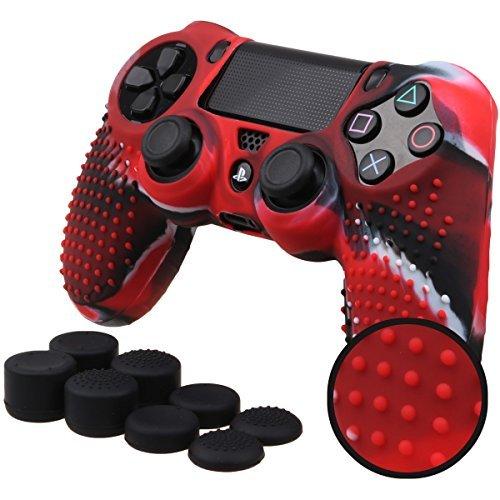 Pandaren STUDDED Silikon Hülle Anti-Rutsch für PS4 controller x 1 (Tarnung rot) + FPS PRO thumb grips aufsätze x 8 -