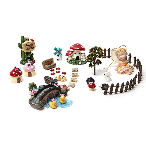 SecretRain 37 tlg.Miniatur Garten Deko Set Mini-Szene Ausschmückung Puppenstuben Pflanze Dekor als Geschenk