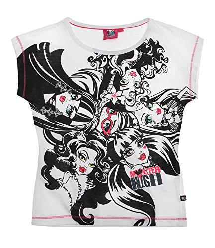Monster High Mädchen T-Shirt - weiß - 164 (T-shirt Monster High)