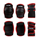Protecciones Infantiles Skate Bicicleta Monopatín, Almohadillas de muñeca de codos de rodilla (Negro, M)