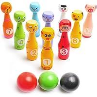 Bowling Spiel-Set für Kinder: Bestes Indoor Bowling-Set mit 10 Farbigen Figuren-Pins aus Holz und 3 Bowling-Bällen – Einfach Aufstellen und Unterhaltsam beim Umwerfen – Perfektes Bowlingspiel