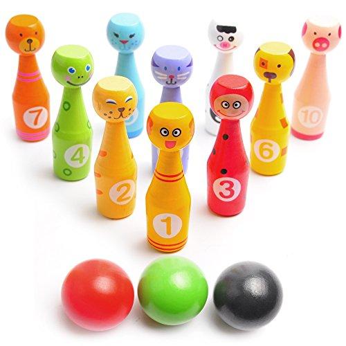 Bowling Spiel-Set für Kinder: Bestes Indoor Bowling-Set mit 10 Farbigen Figuren-Pins aus Holz und 3 Bowling-Bällen – Einfach Aufstellen und Unterhaltsam beim Umwerfen – Perfektes Bowlingspiel das Einfach Funktioniert