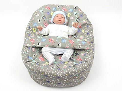 Baby Liegekissen, Lagerungskissen, Alternative zur Babywippe & Babyliege, auch als Kindersitzsack verwendbar, Motiv: Monster