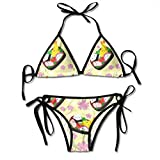 Pillowcase shop Happy Bento Box Yellow Women Bikini Sets Beach Triangle Swimwear Bathing Suit Two Piece