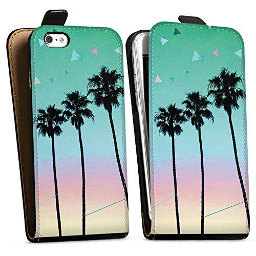 Apple iPhone X Silikon Hülle Case Schutzhülle Palmen Urlaub Reise Downflip Tasche schwarz