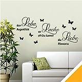 Exklusivpro Wandtattoo Spruch Worte Lebe Lache Liebe mit Schmetterlinge (wrt11 Goldgelb) 90 x 40 cm mit Farb- u. Größenauswahl