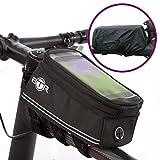 BTR Fahrrad-Rahmentasche / Lenkertasche und Handy-Tasche. V4 Fahrradtasche Rahmen. Fahrradrahmentasche wasserdicht mit Option für einen wasserdichten Regenschutz, um ALL Ihre Wertsachen vor Nässe zu schützen – passend für ALLE Fahrräder