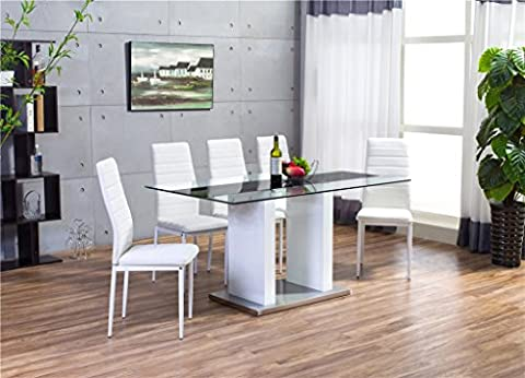 FLORENCE High Gloss White Glass Dining Table Set and 6 Faux Leather Chairs Seats