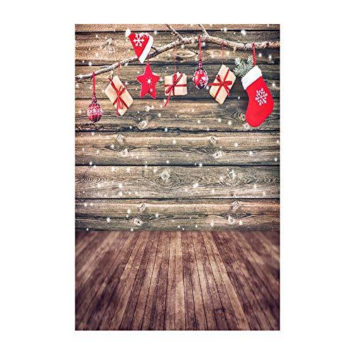 ODJOY-FAN Weihnachten Fotografie Hintergründe Schnee Vinyl 3x5FT Hintergrund Fotografie Studio Weihnachten Fotostudio 3D Hintergrund Wandtattoos Dekor 90x150cm(C,1 PC) (Fotografie Außenbeleuchtung)