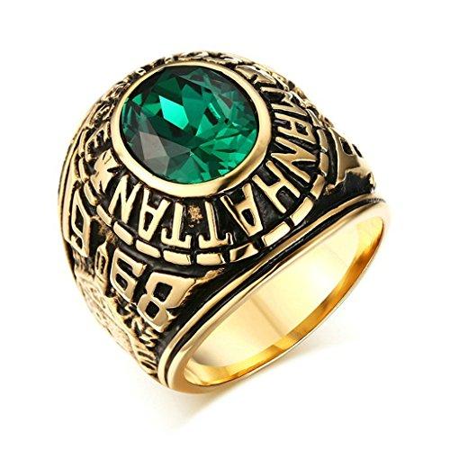 Daesar Anelli Acciaio Inossidabile Oro Vintage Uomo Anelli Verde Anello Emerald(Laboratorio Creato) Dimensioni:25