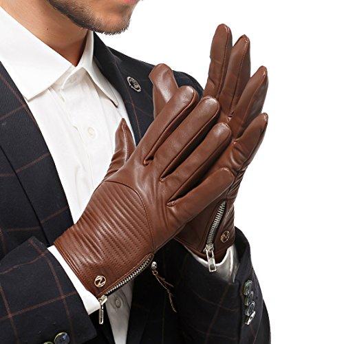 les gants de cuir véritable nappa nappaglo chaud hivernal à écran tactile conduite cyclisme mittens avec fermeture à glissière en métal brun rouge (sans écran)