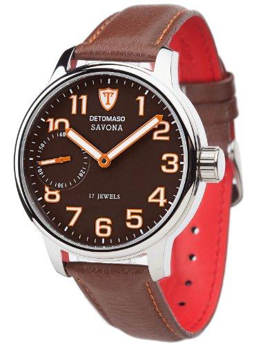 DeTomaso Men's Automatic Watch SAVONA Edelstahl Lederarmband Braun Handaufzug DT1028-C DT1028-C with Leather Strap