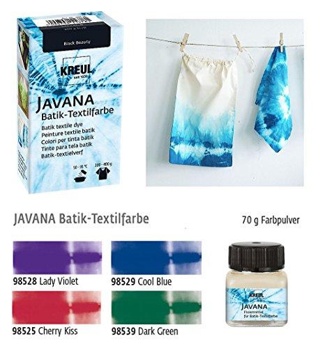 Javana Batikfarben Set 4 Plus 1, 4 Batik Textilfarben + Fixiermittel für Batik