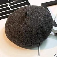 Hat Boina del Pelo Salvaje del Otoño E Invierno, Sombrero Casual del Pintor De Lana del Vintage De Las Señoras, Marea Japonesa Simple del Sombrero del Brote,Gris Oscuro,Un tamaño