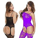 LOVELYBOBO 2-Pack Damen Unterwäschen Reizwäsche Netz Strumpfhose Bodystockings Jumpsuit Frauen Bodysuit Nachtwäsche Dessous (schwarz+violett)