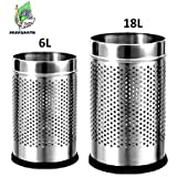 "Parasnath Stainless Steel Perforated Open Dustbin, Stainless Steel Garbage Bin,Small And Large - 6 Litre (7""x10"") + 18 Litre (10'' X 14'')- Set Of 2 Pcs"