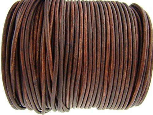 Cuerda de piel redonda 3 mm. Marrón antiguo. Longitud seleccionable. 5 m Marrón envejecido