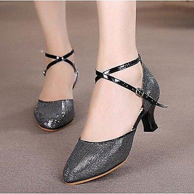 Wuyulunbi @ Femme Paillette Boucle Sandale Extérieure Chunky Rouge Brun Talon Argent Or Noir Us8.5 / Eu39 / Uk6.5 / Cn40