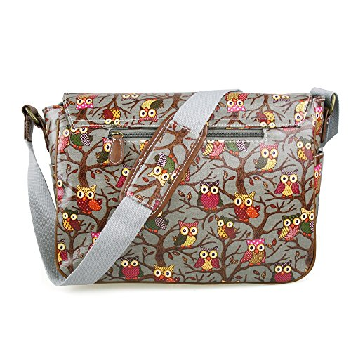 Miss Lulu - Borsa a tracolla da donna, stile vintage, motivo: gufi con foglie/farfalle, in tela o cerata (Owl Grey)