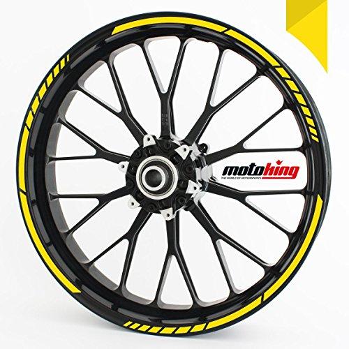 Felgenrandaufkleber GP im GP-Design passend für 17 Zoll und 16″ 18″ 19″ Felgen für Motorrad, Auto & mehr – Gelb
