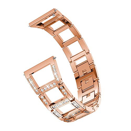 YEARNLY Damen Metall Watch Armband für Samsung Galaxy Watch Ersatz-Metallkristall-Uhrenarmband (46mm)