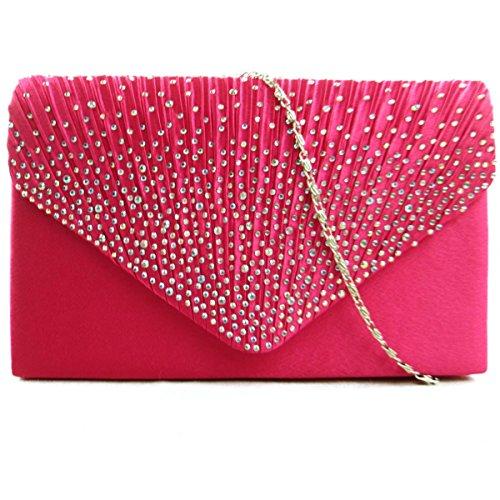 Zarla Grand soirée pour femme en Satin pour mariage/fête pochette enveloppe Rose - rose