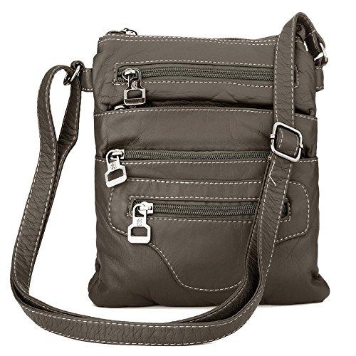 a697c5e40bf99 Leichte Lederhandtasche Crossbody Messenger Bag Umhängetasche für Damen  Herren Dunkelgrau