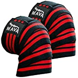 """Mava Sports Knee Wraps (Pair) for Cross Training WODs,Gym Workout,Weightlifting,Fitness & Powerlifting - Knee Straps for Squats - For Men & Women- 72""""-Compression & Elastic Support"""