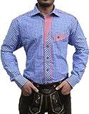 Trachtenhemd für trachten lederhosen wiesn freizeit Hemd blau-rot-kariert, Hemdgröße:M
