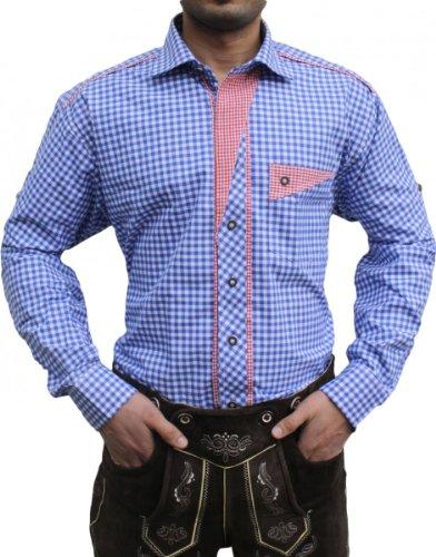 Trachtenhemd für trachten lederhosen wiesn freizeit Hemd blau-rot-kariert, Hemdgröße:L