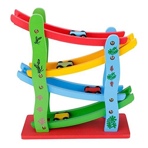 Lewo Hölzern Groß Ramp Race Junge Auto Spielzeug Spiele für Kinder mit 4 Kleinen Rennfahrern