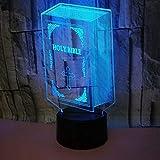 GANXIA HOME 3D Bible Night Light USB Touch Switch Décor Table Table Optique Illusion Lampes 7 Couleur Changement De Lumières LED Lampe De Table Noël Maison Amour Brithday Enfants Enfants Décor Jouet C