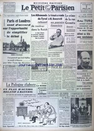 PETIT PARISIEN HUITIEME EDITION (LE) [No 22773] du 07/07/1939