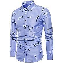 Hombre Camisa,ZODOF Camiseta para Hombre Casual Manga Larga Negocio Ajustado Impresión Retro Negocio Botón