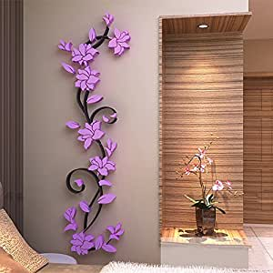 Buy generic colorful 3d flower removable vinyl quote wall for Stickers 3d pared
