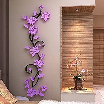 Buy Generic Colorful 3D Flower Removable Vinyl Quote Wall Sticker DIY Rose Stickers  Decal Mural Home Room Decors Purple Online At Low Prices In India ... Part 45