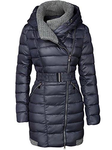 Abrigo largo acolchado de invierno con cuello amplio para mujer azul oscuro...