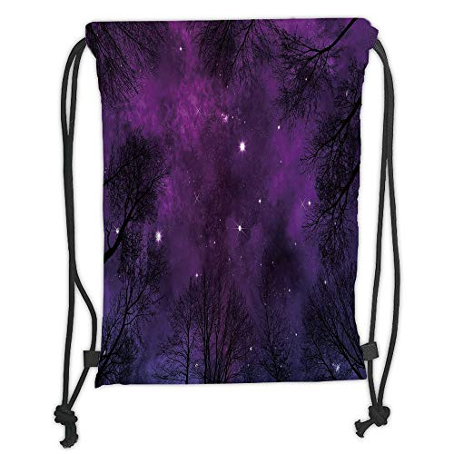 OQUYCZ Drawstring Sack Backpacks Bags,Night Sky,Outer Space in Planet View of Forest Branches Stars Abstract Design,Dark Purple and Black Soft Satin,5 Liter Capacity,Adjustable String Closure,