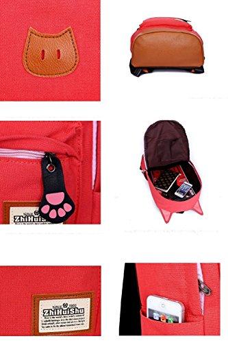 Minetom 2014 Super Süß Katze Ohre Design Mittelschul Stil Damen Lady Mädchen Rucksack Für Die Schule Reise Camping Laptop Multifunktion Tasche Von Segeltuch Mehrere Farben C5004 royal blau