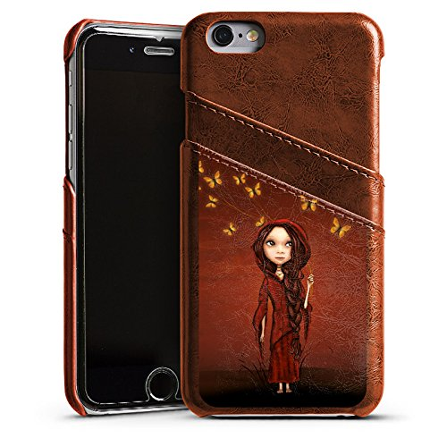 Apple iPhone 5s Housse étui coque protection Papillons Fille Monde imaginaire Étui en cuir marron