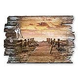 Kreative Feder Steg zum Meer Designer Schlüsselbrett, Hakenleiste Landhaus Style, Shabby aus Holz 30x20cm, HSB116
